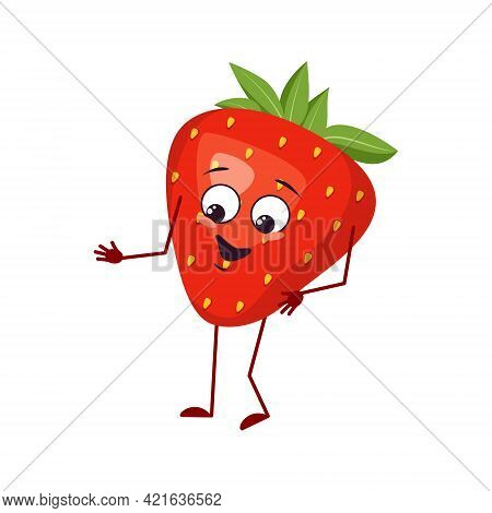 Cute Strawberry Character With Joy Emotions, Smiling Face, Happy Eyes, Arms And Legs. A Mischievous