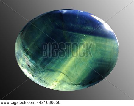 Oval Natural Star Sapphire Cabochon Gemstone Closu Up Front Photo. Look Inside Massive Crystal Of St