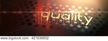 Quality - Luxury Gold Word On Blurred Dark Background With Stars. Shiny Golden Text In Rays And Sun