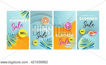 Trendy Editable Summer Sale Template For Social Networks Stories, Banner, Flyer, Invitation, Poster,