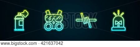 Set Line Paint Spray Can, Gas Mask, Barbed Wire And Flasher Siren. Glowing Neon Icon. Vector