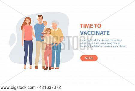 Time To Vaccinate Banner - Happy Parents With Children Is Protected From Viruses And Diseases. Famil
