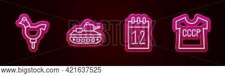 Set Line Cockerel Lollipop, Military Tank, Calendar 12 June And Ussr T-shirt. Glowing Neon Icon. Vec