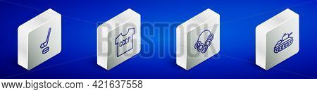 Set Isometric Line Ice Hockey Stick And Puck, Ussr T-shirt, Russian Bagels And Military Tank Icon. V