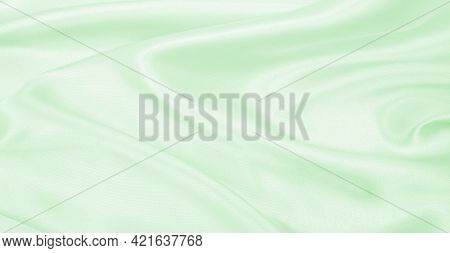 Smooth Elegant Green Silk Or Satin Luxury Cloth Texture Can Use As Abstract Background. Luxurious Ba