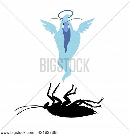Black Silhouette Of A Dead Cockroach With A Blue Ghost In A Shroud, Insect Pest, Symbol Of Insanitar
