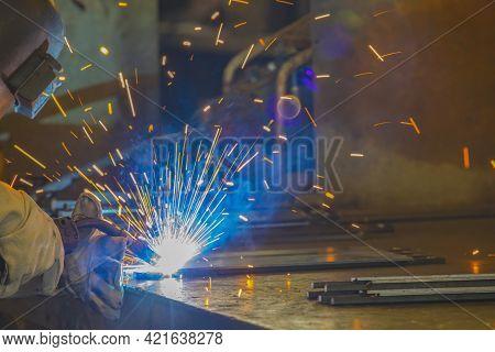 Steel Welding At The Factory Welding Steel Structure.