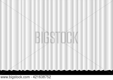 Closed White Textile Concert Curtain With Many Shadow Wavy Background. Theatrical Fabric Clean Drape