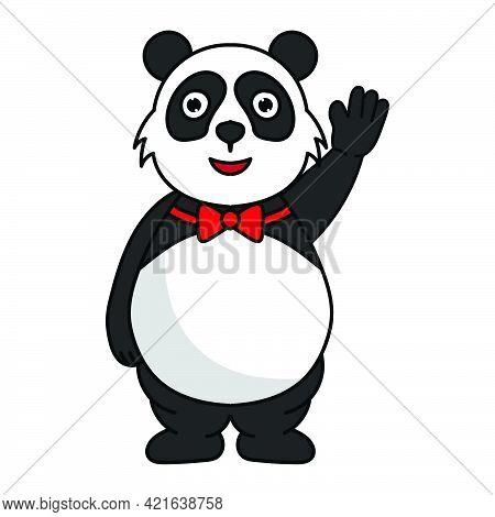 Fat Panda Mascot Cartoon Character Illustration Raises His Hand Bye Bye