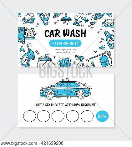 Visit Card For Printing For The Car Wash And Auto Detaling