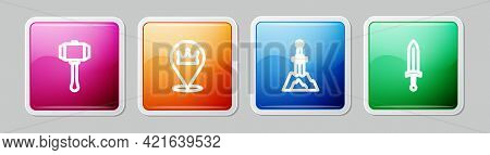 Set Line Hammer, Location King Crown, Sword The Stone And Medieval Sword. Colorful Square Button. Ve