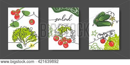 Salad Wall Line Art Decoration, Poster. Set Of Vector Illustrations, One Continuous Line Decoration