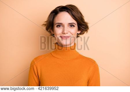 Portrait Of Young Lovely Pretty Happy Positive Smiling Girl With Bob Hair Wear Orange Turtleneck Iso