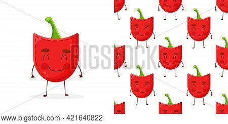 Seamless Pattern Paprika Shaped Patch Pocket. Character Pocket Paprika. Cartoon Style. Design Elemen
