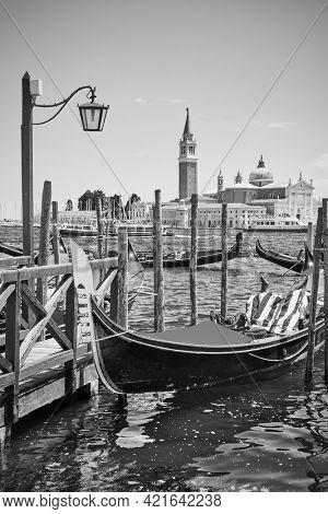 Gondola  in Venice, Italy. Black and white photography,  venetian scenic view