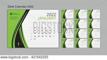 Set Desk Calendar 2022 Template Vector, Planner Design, Wall Calendar 2022 Year, Poster, Week Start