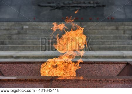 The Eternal Flame At The Monument To Soldiers Killed In The War.