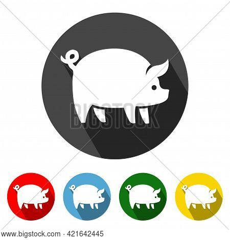 Pig Icon Vector Illustration Design Element With Four Color Variations. Pig Icon With Long Shadow. P