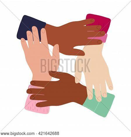 Cartoon Inter-racial Friendship, Solidarity Of People, Help Support In Diversity Symbol Concept In C