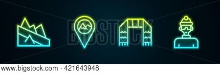Set Line Mountain Descent, Location With Mountain, Winter Scarf And Athlete. Glowing Neon Icon. Vect