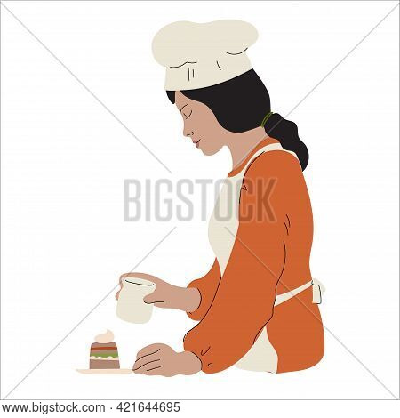 Confectioner. Cooker. Person Making Desserts, Cakes. Hobby And Occupation. Cooking Process. Hand-dra