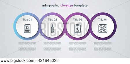 Set Line Clinical Record, Syringe, X-ray Shots And Pills Blister Pack. Business Infographic Template