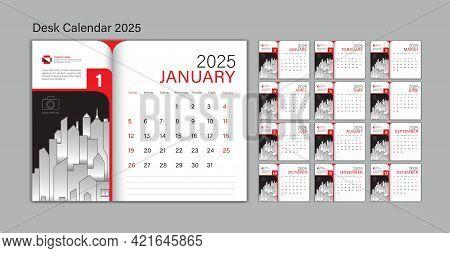 Set Desk Calendar 2025 Template Vector, Planner Design, Wall Calendar 2025 Year, Poster, Week Start