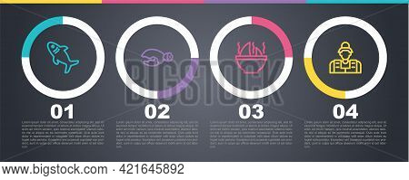 Set Line Shark, Lobster Or Crab Claw, Fin Soup And Fisherman. Business Infographic Template. Vector