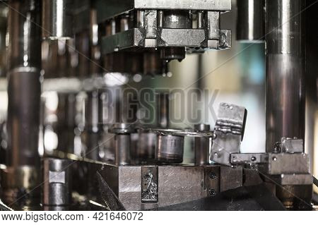 Hydraulic Press Stamping Machine For Forming Metal Sheet, Industrial Metalwork Manufacturing. High Q