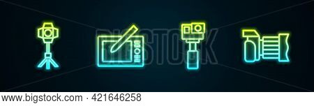 Set Line Softbox Light, Graphic Tablet, Action Camera And Photo. Glowing Neon Icon. Vector