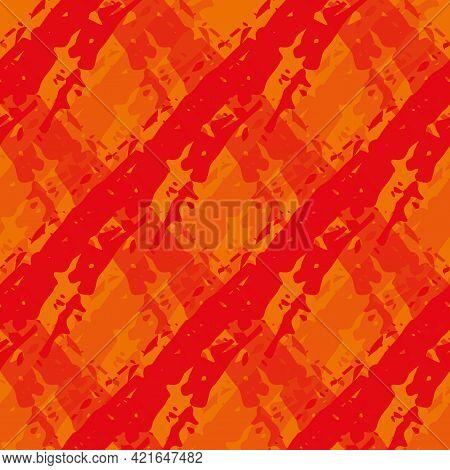 Vector Diamond Flame Effect Seamless Pattern Background. Painterly Brush Stroke Effect Criss Cross B