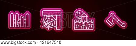 Set Line Garden Fence Wooden, Spider Web, Castle, Fortress And Wooden Axe. Glowing Neon Icon. Vector