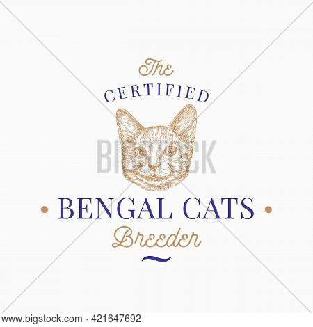 Cat Breeder Badge Or Logo Template. Hand Drawn Bengal Breed Face Sketch With Retro Typography. Vinta