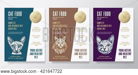 Pet Food Label Templates Set. Abstract Vector Packaging Design Layouts Collection. Typography Banner
