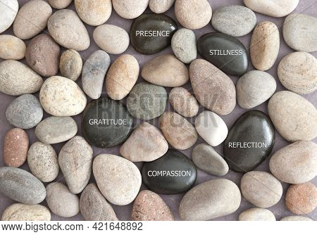 Circle Of Meditation Zen Stones Amongst Pebbles With Inspirational Words
