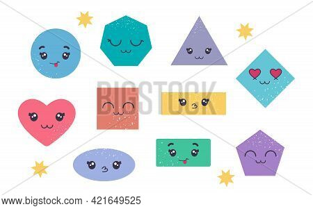 Colorful Set Of Various Bright Basic Geometric Figures With Face Emotions. Set Of Various Bright Bas
