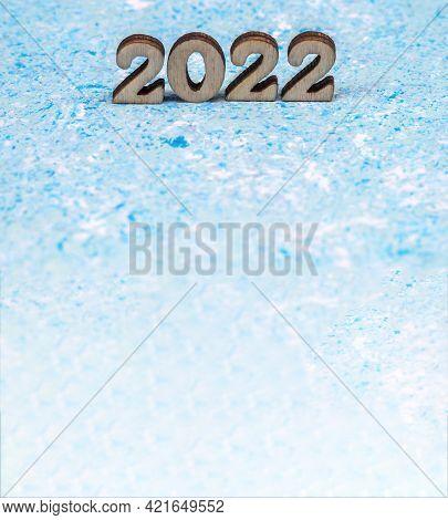 Banner 2022. Numerals 2022 On Blue Background. Wooden Digits 2022.