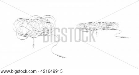 Audio Cable Mockup Isolated On A White Background - 3d Render