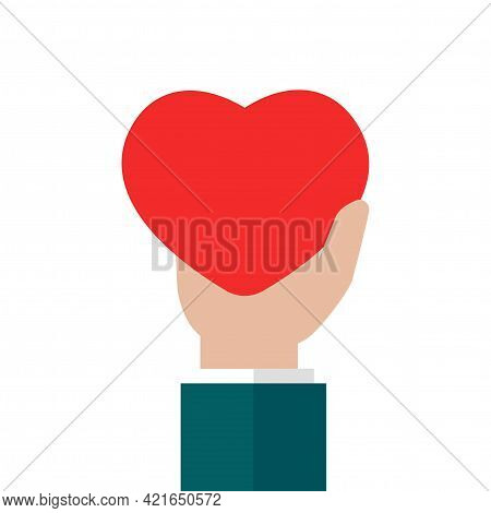 Hand Holding Red Heart On White Background. Charity, Philanthropy, Giving Help, Love Concept. Flat V