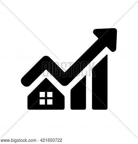 House Price Growth Icon. Graph Increase Icon. Finance Growth Vector Chart