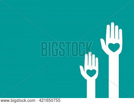 Horizontal Blue Background With Hands Holding Hearts. Charity, Philanthropy, Support, Giving, Help,