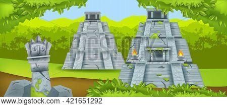 Ancient Maya Pyramid, Vector Mexico Temple Ruin, Jungle Green Landscape, Rainforest Silhouette. Azte