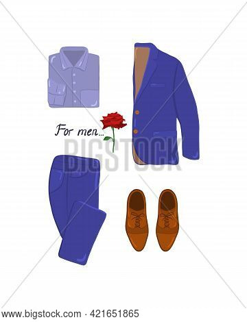 Elegant Mens Fashion, Suit Uniform With Jacket, Trousers, Shirt And Shoes Neatly Folded On A White B