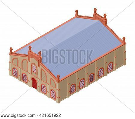 Old Workshop Building In The Style Of The Late 19th - Early 20th Century. Isometric Vector Illustrat