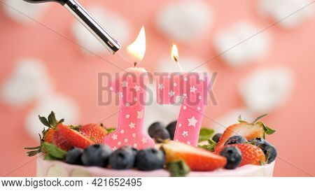 Birthday Cake Number 17, Pink Candle On Beautiful Cake With Berries And Lighter With Fire Against Ba