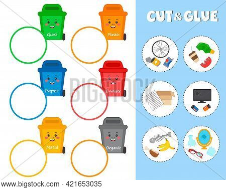 Matching Game For Kids. Eductaional Children Activity. Ecology Theme. Cut And Glue. Separate Collect