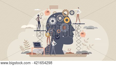 Cognitive Process And Psychological Mind Learning Process Tiny Person Concept. Inner Head Thoughts R