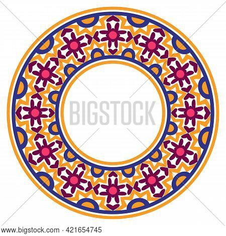Decorative Round Ornament. Ceramic Tile Border. Pattern For Plates Or Dishes. Islamic, Indian, Arabi