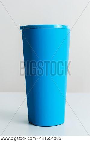 Blue reusable tumbler from Corkcicle. JANUARY 29, 2020 - BANGKOK, THAILAND