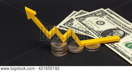 Wage Growth, Population Income Growth Concept. Growth Arrow On Dollar Bills, Place For Text